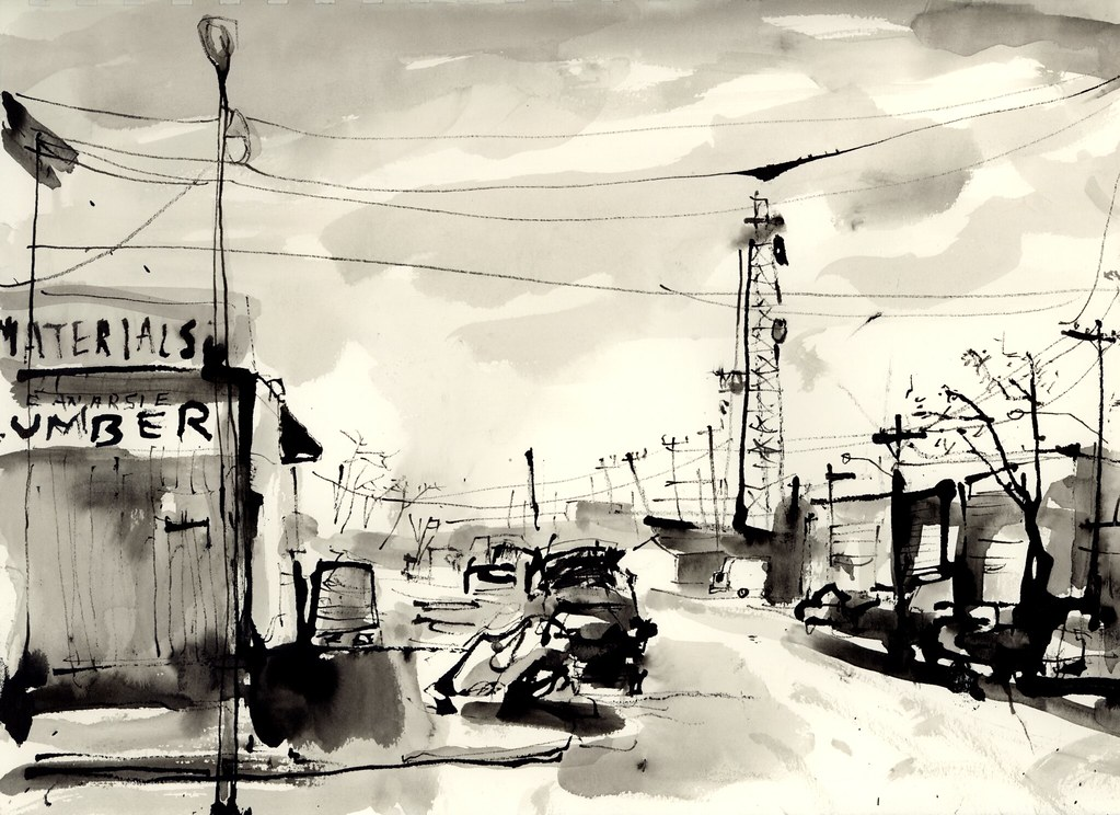 Ink sketch of Canarsie Lumber in Brooklyn, by Jason Das